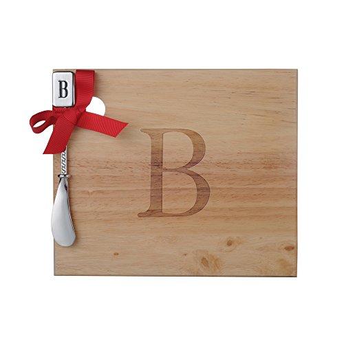 Monogram Oak Wood Cheese Board With Spreader B-Initial B