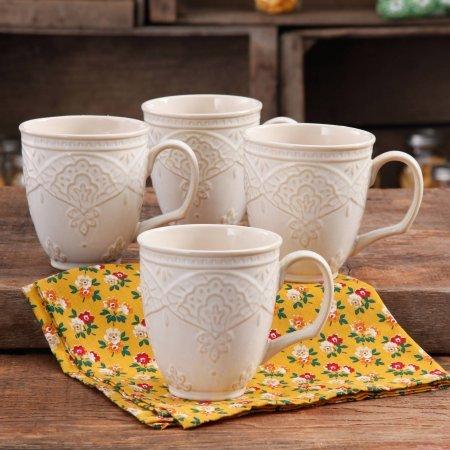 Charming Antique Style Farmhouse Lace Mug Set LINEN