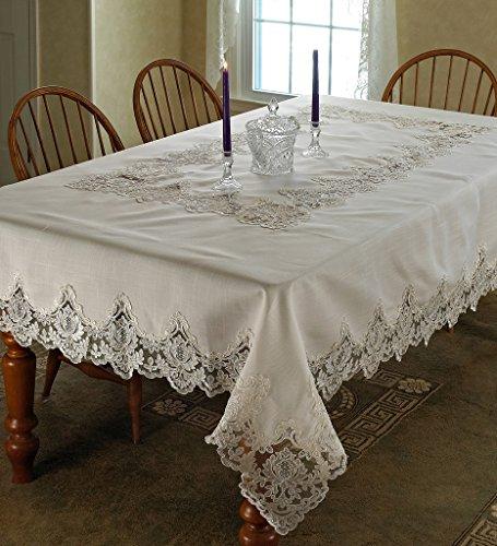Violet Linen Imperial Embroidered Vintage Lace Design OblongRectangle Tablecloth 70 x 120 Cream