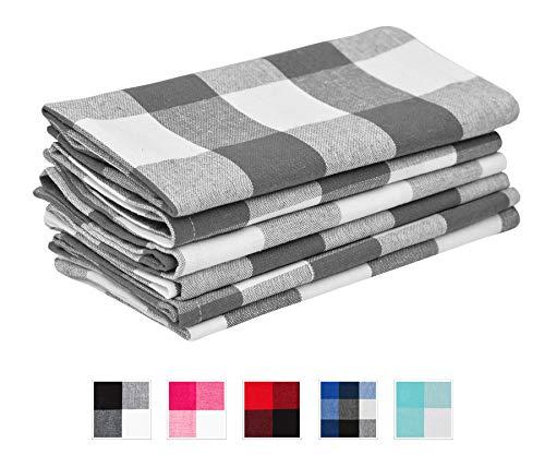 Grey Checked Napkins - Buffalo Plaid Napkins - Buffalo Check Kitchen Napkins - Cotton Plaid Napkins - Kitchen Napkins Cotton - Plaid Napkins Cotton - Grey Cloth Napkins Set of 6 18x18 Grey Cream