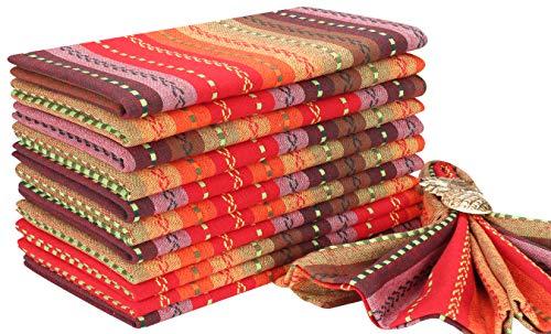 Salsa Cloth Napkin In Multi Stripe Fabric-18x18 Red MultiWedding NapkinsCocktails Napkins Fabric Napkins Cotton Napkins Mitered Corners Generous Hem Machine Washable Dinner Napkins Set Of 12