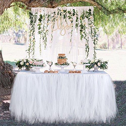 Aytai Pack of 4 white tulle table skirts for 6ft TablePremium TUTU table skirts for weddingspartiesbirthdaysbaby shower girl decoration