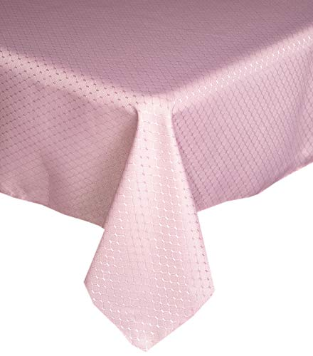 Lintex Chelton Beehive Weave Jacquard Fabric Tablecloth Easy Care Stain Resistant and Water Repellent Indoor and Outdoor Solid Color Tablecloth - 60 Inch X 102 Inch OblongRectangular Dusty Rose
