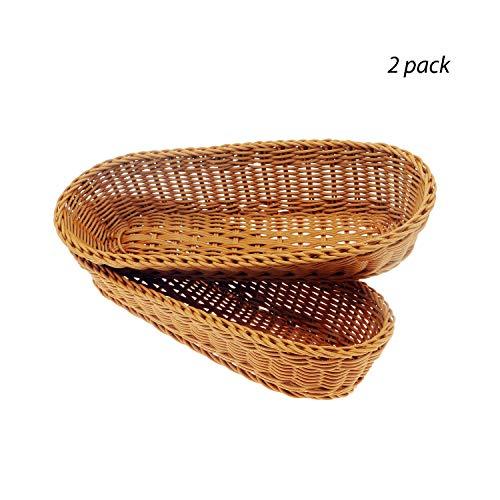 14Poly-Wicker Bread Basket Woven Tabletop Food Fruit Vegetables Serving Restaurant Serving BasketBrown2 PACKS