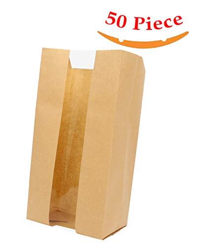 Aosheng 50 PCS Brown Kraft Paper Bread Loaf Bag Lunch Food Packaging Storage Clear Windown Design Bakery Bag 472 X 354 X 1181 Inch