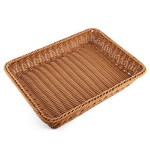 Bread Basket Yamix Rectangle Imitation Rattan Bread Basket Food Serving BasketsRestaurant ServingDiplay Baskets For Fruit Food Vegetables - Dark Brown