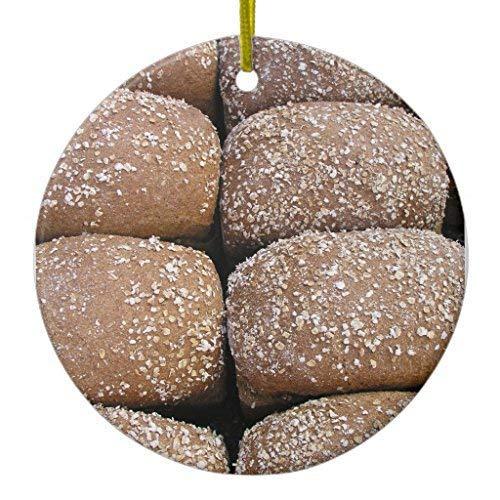 TIFA-LOVE Brown Bread Rolls Ceramic Ornament Circle 3 Inches