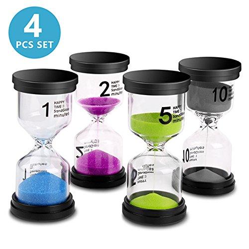 Sand Timer VAGREEZ 4 Colors Hourglass Sand Timer Clock Toothbrush Timer 1 Min 2Mins 5Mins 10Mins Timer for Kids Games Classroom Home Office Kitchen Use Pack of 4