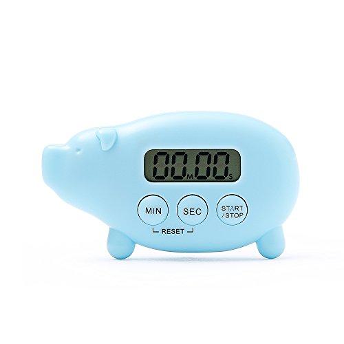 FaSoLa Kitchen Digital Timer Reminder Multifunction Timer Stopwatch Large Screen Alarm Clock Blue Pig