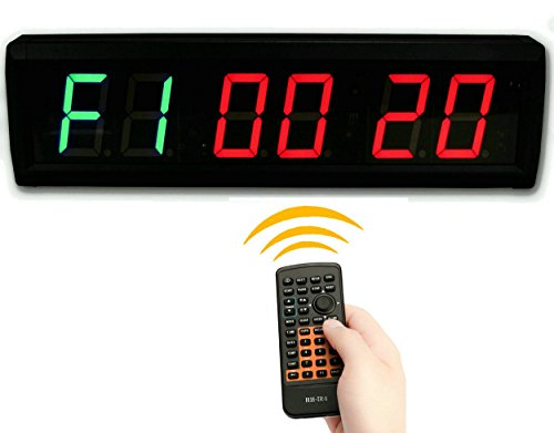 SUOLOUNG 15 High 6 Digits LED Countdown up Clock for TABATA  GYM BOXING EMOM MMA Alternate Interval Timer 1224-Hr Real Time Clock Stopwatch by Remote Control
