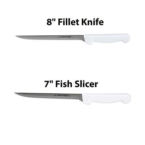 Dexter-Russell 7 and 8 Fillet Knife wPolypropylene White HandleBoning Knife Flexible Fillet Knives for Meat Fish Poultry ChickenChef Bone KnifeCarbon Steel bundle
