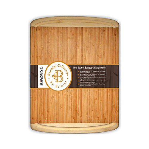 Large Cutting Board Organic Bamboo Chopping Board With Juice Grooves Wood Serving Tray Best For Chopping Meat Bread and Veggie Wide and Thick 18x12 - By Bambüsi