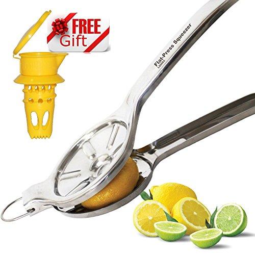PATENT PENDING EcoJeannie Jumbo Size FLAT PRESS 100 Stainless Steel Lemon Squeezer for Pressing lemon-half FLAT Ultimate Manual Lemon Juicer Press Lime Juicer Squeezer LS0003  Free Citrus Tap