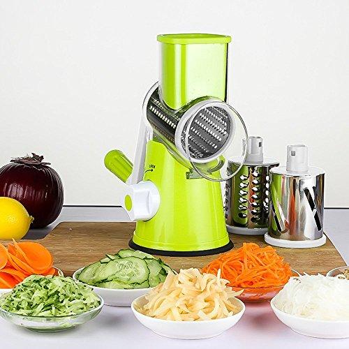 LEKOCH Vegetable Mandoline Slicer  Rotary Drum Cheese Grater with 3 Ultra Sharp Cylinders Stainless Steel Blades  Manual Hand Speedy Safe  Vegetable Shredder Cutter