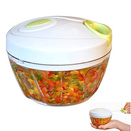 Powerful Food Chopper Manual Vegetable ShredderPortable Mufti-function Food Processor Fruit and Vegetable Blender Slicer Mincer to Chop Onion Nut Garlic for Salsa Salad Pesto ColeslawPuree