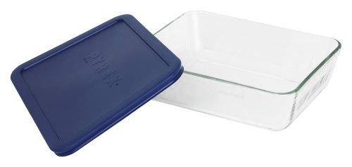Pyrex Simply Store 6-Cup Rectangular Glass Food Storage DishBlue