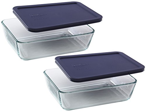Pyrex Storage 6-Cup Rectangular Dish with Dark Blue Plastic Cover Clear Box of 2 Containers