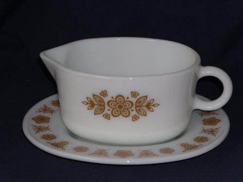 PYREX Corning Butterfly Gold Gravy Bowl Dish w Plate