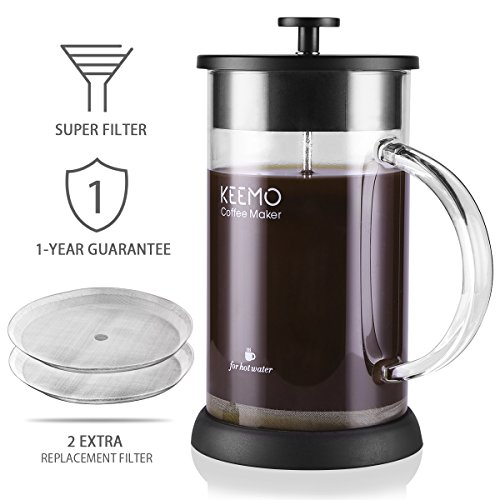 French Press Coffee Tea Maker - keemo Espresso Maker With Reusable Filter - Comfortable Handle - Easy Clean - Heat-Resistant Borosilicate Glass 1 liter 8 Cup34 Oz Black