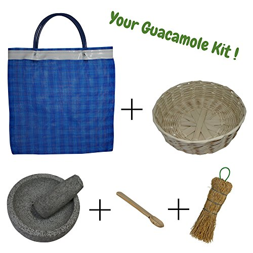Mexican molcajete bowl bundle includes 5-inch stone mortar and pestle set tortilla basket wooden salsa spoon natural fiber cleaning brush and mesh grocery bag perfect gift set 5 inch