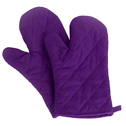 1 Pair Kitchen Gloves Baking Cooking Cotton Glove Microwave Oven Heat Resistant Gloves Mittens Purple