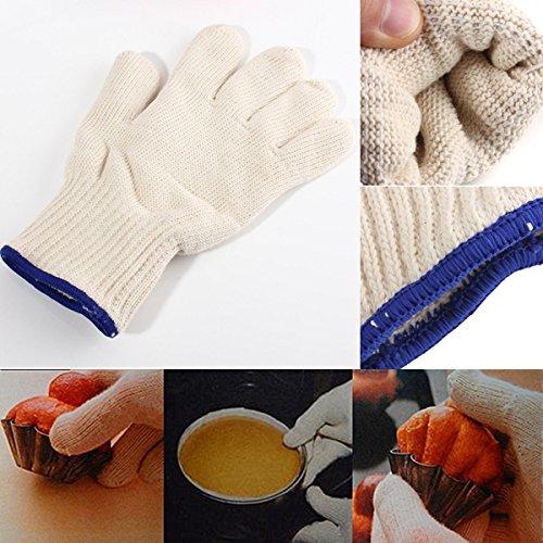 1Pcs Heat Resistant Heatproof Cotton Gloves BBQ Oven Kitchen Gloves  1pcs calor guantes de algodón resistentes al calor resistente barbacoa guantes de cocina horno