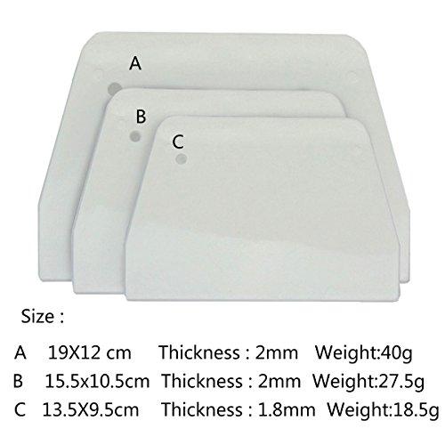 Baker Boutique Bowl Scrapers Set of 3 Plastic Multi-purpose Curved Straight Edge Spatulas Fondant Icing White