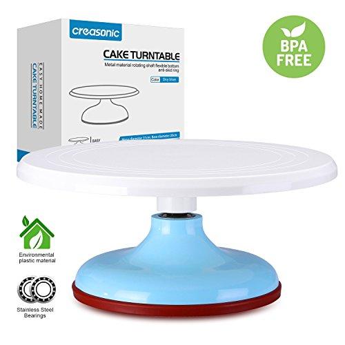 Cake TurntableBest 122  Revolving Cake Decorating Stand Food Grade Plastic Sky Blue Cake Decorating Supply Anti-skidding Cake Turntable Stand