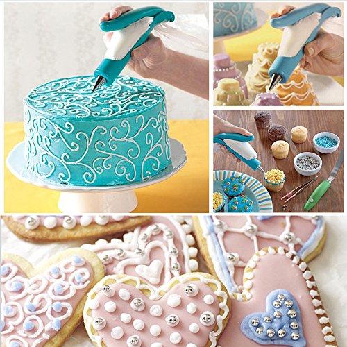 SCStyle Cake Decorating Pen Tool Kit Pastry Bag DIY Cake Deco Tools Kit Pastry Icing Pen Piping Kit BagsBlue